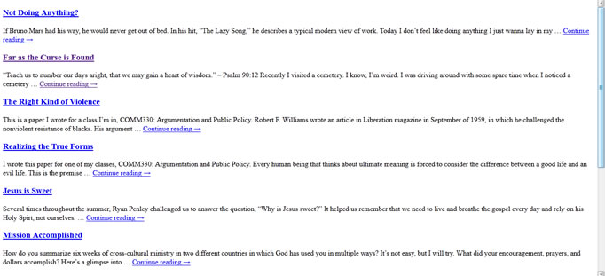 Browser Screenshot of RSS Feed